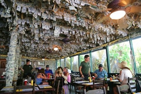 Guests gather for lunch in the dollar bill room at Cabbage Key Inn