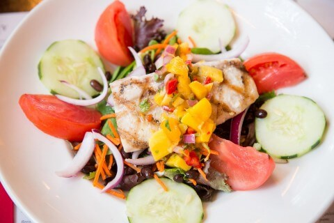 Dinner Salad with Mahi & Mango Salsa