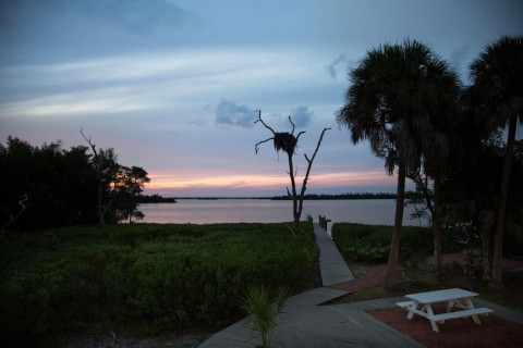 Sunset view from the Osprey Cottage - Yes, got it's name from the large osprey nest in the front yard