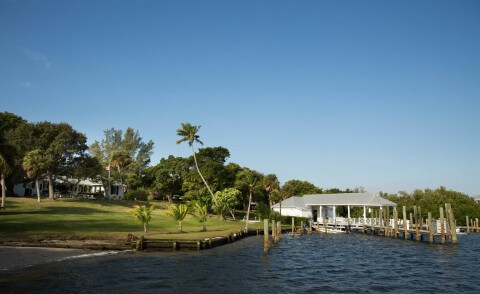 View of the dockhouse and historic lodge at Cabbage Key