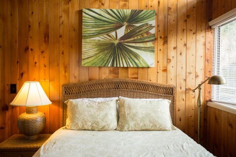 Queen size bedroom at Cabbage Patch which is a two bedroom two bath cottage