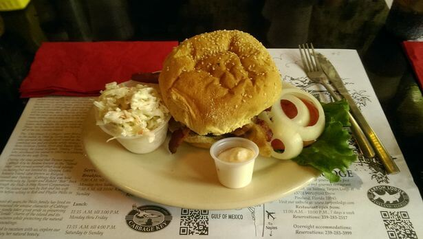 The burger at Cabbage Key restaurant