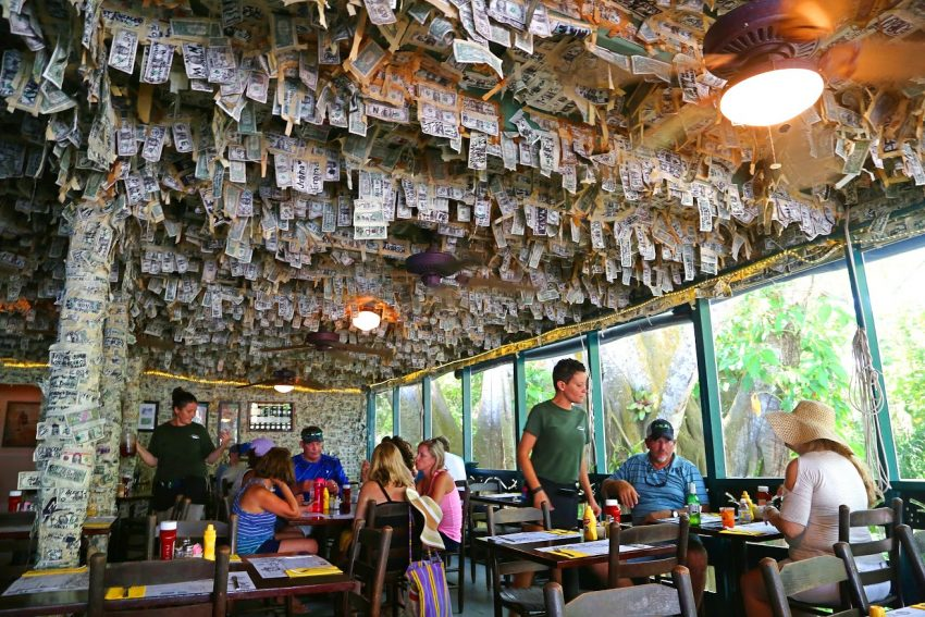 Cabbage Key bar adorned with currency on Florida's Gulf Coast.