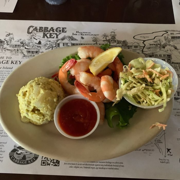 fresh seafood plate on table at cabbage key