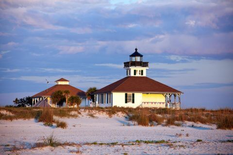 Port Boca Grande lighthouse at sunset