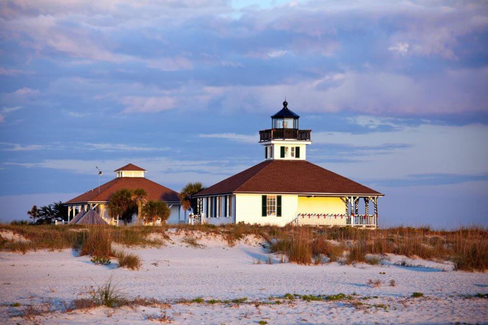 Port Boca Grande lighthouse at sunset